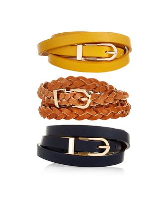 belt leather waist belt braided yellow gold
