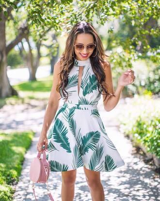 dress tumblr mini dress halter neck halter dress bag pink bag round bag sunglasses