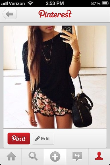 shorts floral shorts t-shirt black casual top