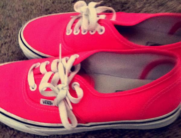 shoes neon pink classic vans