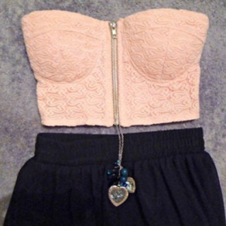 shirt top pink skirt bandeau swipper jewels necklace floral pattern clothes bustier pastel strapless strapless top crop tops peach bustier summer summer outfits spring spring outfits tank top blouse zip black shorts punk rock bustier crop top dress pink top pink crop top