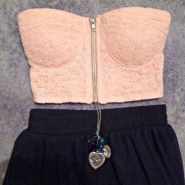 shirt top pink skirt bandeau swipper jewels necklace floral pattern bustier crop tops zipper black shorts