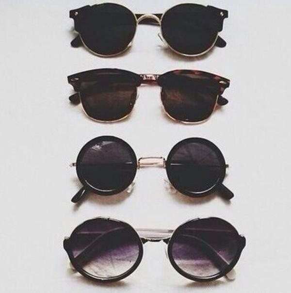 sunglasses round black