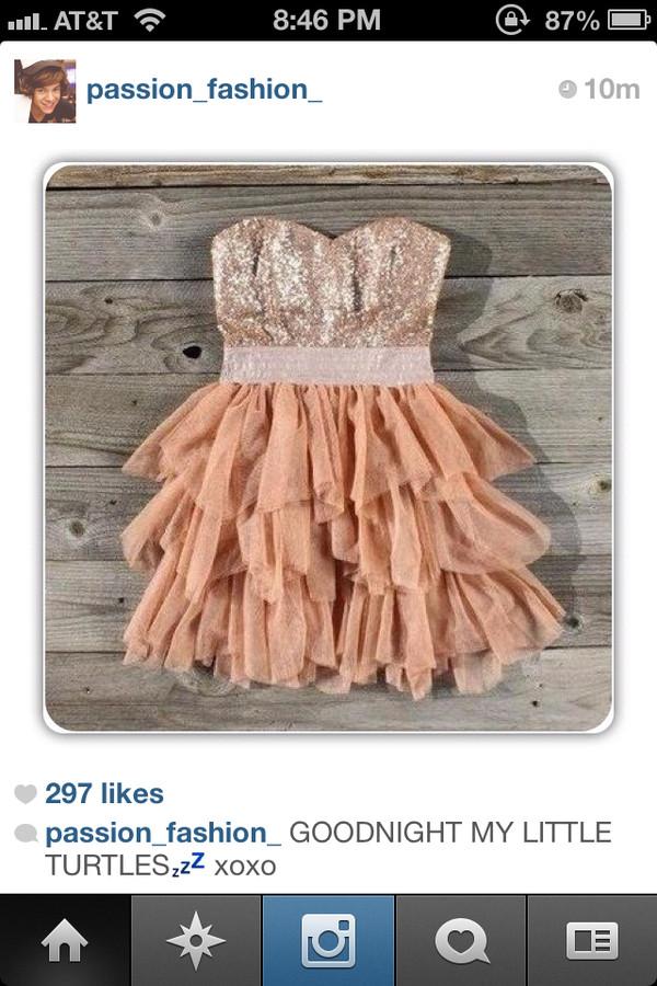 dress sparkle ruffle pink cute