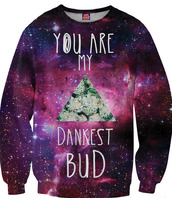 bud,galaxy print,crewneck,sweater,printed top,weed,purple,green,stars,dope,marijuana