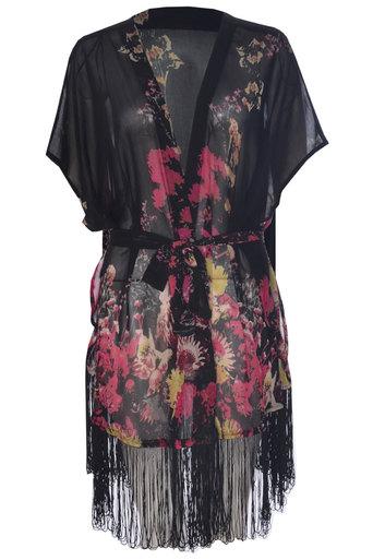 Fenia Floral Fringed Kimono - Pop Couture
