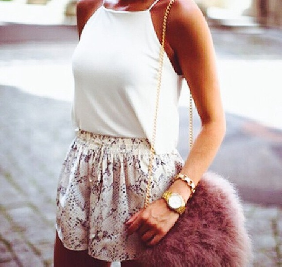 shorts blouse top loose fit cute outfit bag jewels