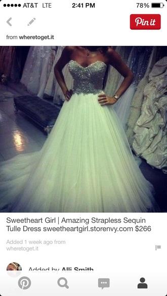 dress strapless sequin tulle skirt