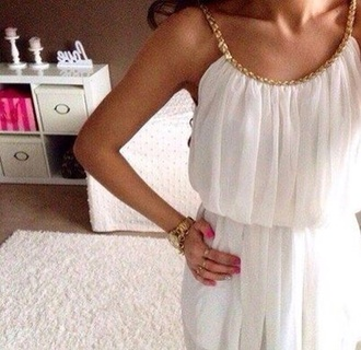 dress white gold chain jewelry jewels pretty fashion zara heels high heels boho indie indian hippie t-shirt shoes white dress cute