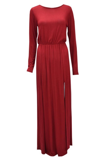 Womens Esta Long Sleeve Double Split Maxi Dress In Burgundy | Pop Couture