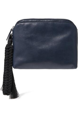leather clutch clutch leather blue bag