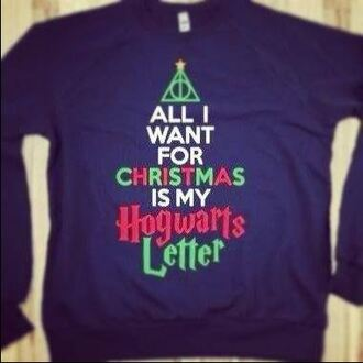 shirt harry potter sweater christmas hogwarts harry potter and the deathly hallows