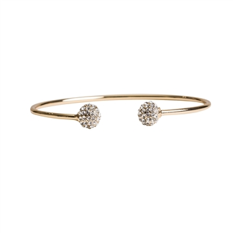 Gold Pave Ball Cuff- 14K