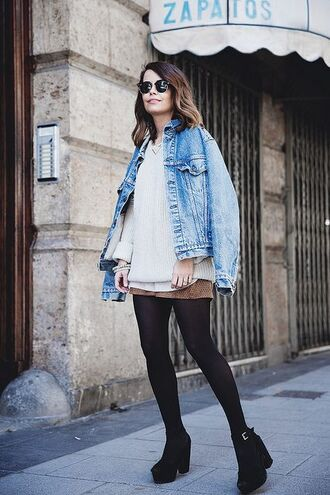 jacket grey sweater white shirt denim jacket brown pleated skirt heel boots blogger sunglasses