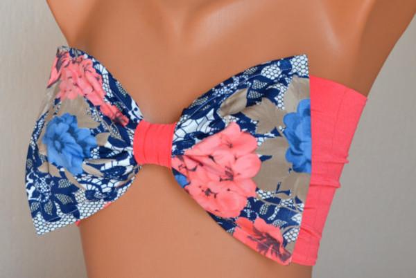 swimwear coral blue bandeau bikini floral swimwear