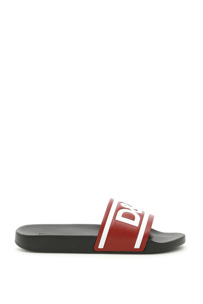 Dolce & Gabbana Rubber Slides With Logo in nero