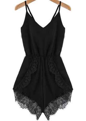jumpsuit romper black lace cute spring summer black romper black rompr black playsuit top the great gatsby flapper