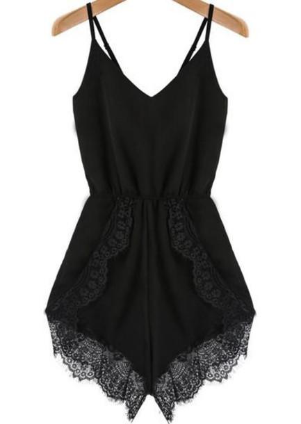 jumpsuit romper black lace cute spring summer black romper black rompr black playsuit