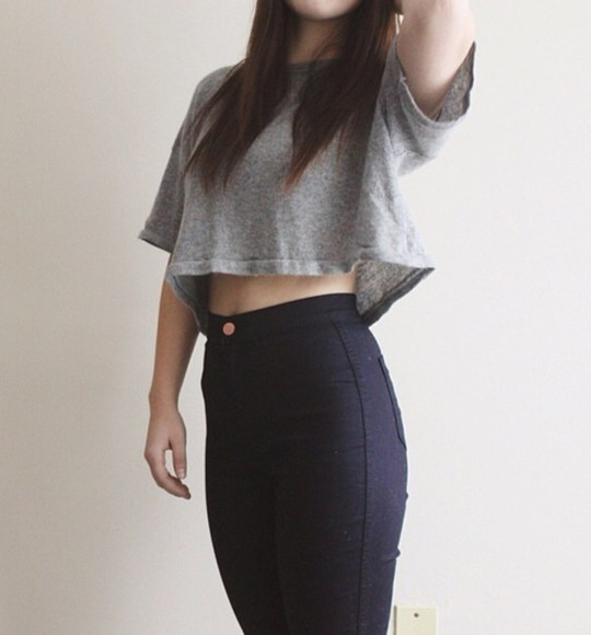 pants black pants hight waisted hight waisted jeans top crop grey taille haute