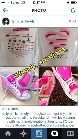 white ribbon shoes instagram breast cancer awareness pinkshoes shoes shirt hightops