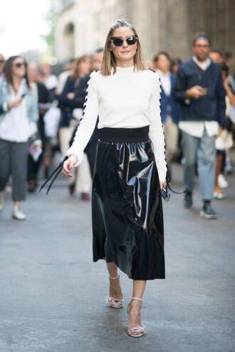 skirt top blouse sweater midi skirt black and white sandals sunglasses milan fashion week 2017 streetstyle blogger