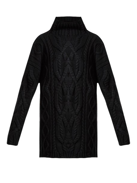 CONNOLLY Oversized Aran-knit cashmere-blend sweater in ...