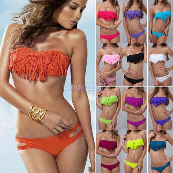 Womens Sexy Tassel Fringe Pad Bandeau Bikini Set Beach Wear Swimsuit Swimwear | eBay