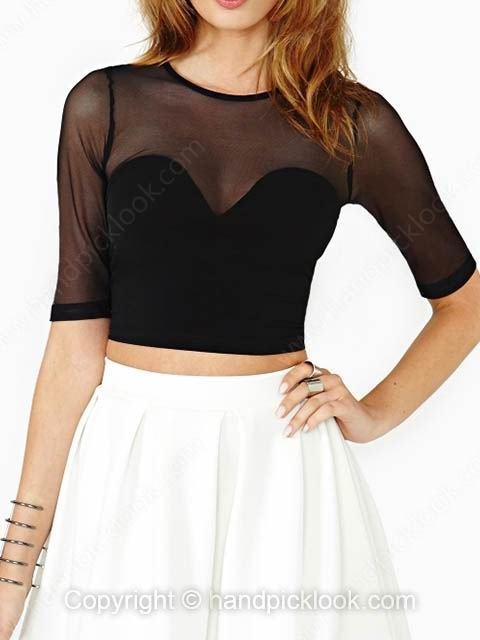 Black Round Neck Short Sleeve Contrast Sheer Mesh Yoke Crop T-Shirt - HandpickLook.com