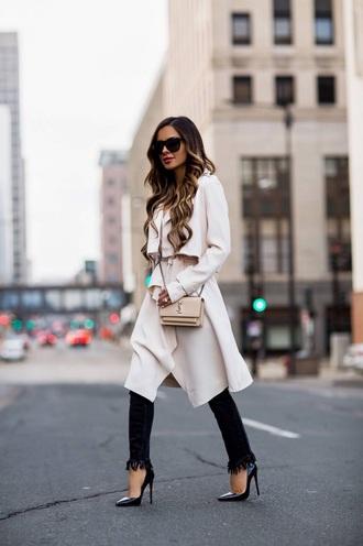 coat white coat trench coat black jeans pumps bag sunglasses jeans fringes frayed denim high heel pumps pointed toe pumps