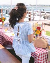 top,tumblr,blue top,open back,backless,backless top,stripes,striped top,bow,bag
