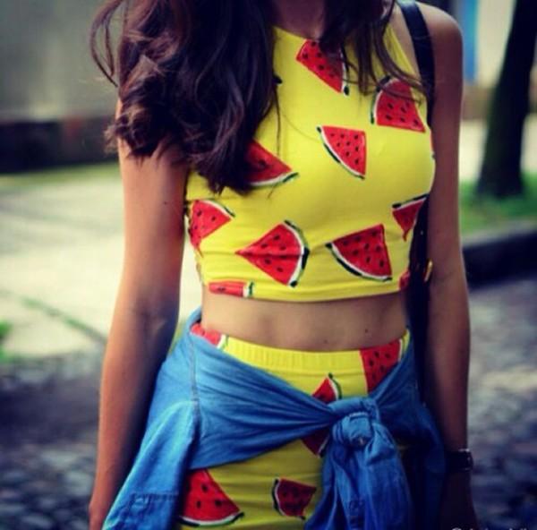 top two-piece yellow watermelon print shirt