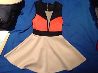dress black cream orange short pretty perf perfect perfecto beautiful swag mesh