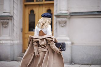 coat tumblr beige coat top white top open back backless top backless hat black hat fall outfits bag black bag