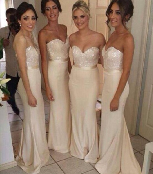 dress wedding bridesmaid gown sparkle silk mermaid strapless ivory beige beige dress