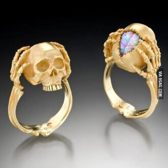 jewels skull  ring skull ring nail accessories gold ring skeleton chic skull bones gems gold skull