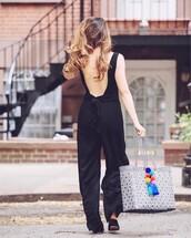 jumpsuit,tumblr,open back,backless,black jumpsuit,bag,tote bag,shoes,black shoes