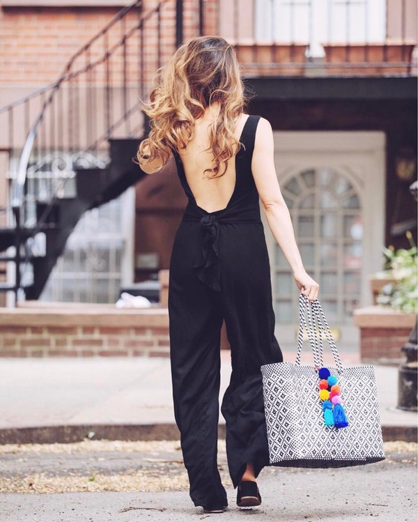 jumpsuit tumblr open back backless black jumpsuit bag tote bag shoes black shoes