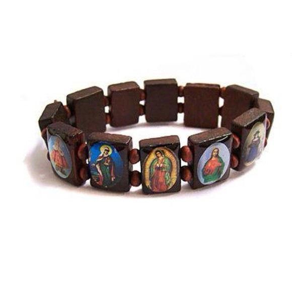 jewels wood bracelets holy saints