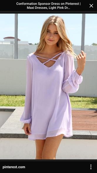 dress purple dress flowy dress criss cross