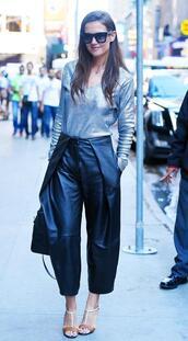 top,silver,metallic,katie holmes,sandals,pants,shoes,cropped pants,metallic blouse