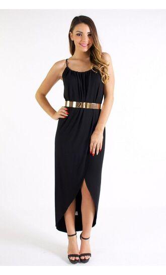 black maxi dress little black dress www.ustrendy.com wrap dress black wrap dress high low dress thin strap dress