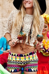 shirt,top,shorts,blouse,lace,crop tops,jewels,aztec,tribal pattern,hat,hippie,festival,colorful,music,boho