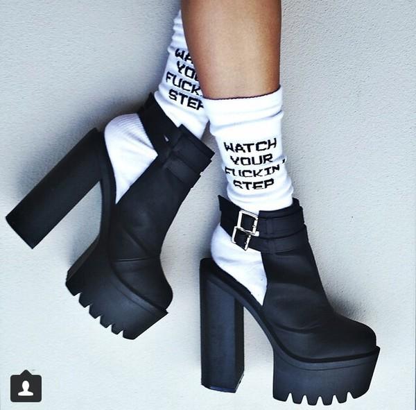 watch your fucking step socks socks shoes high heels chunky sole black watch your fucking step