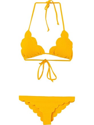bikini string bikini yellow orange swimwear