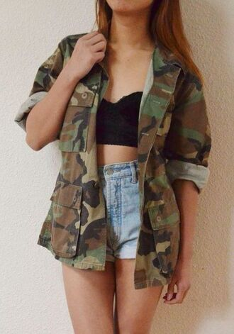 jacket camouflage print army green jacket shorts jeans swag shirt cardigan coat tank top long rolled up green brown cute buttons pockets crop tops high waisted shorts denim military style winter jacket fall jacket fall outfits oversized top black black top bustier crop top denim shorts blouse lace camo jacket summer army print army print shirt