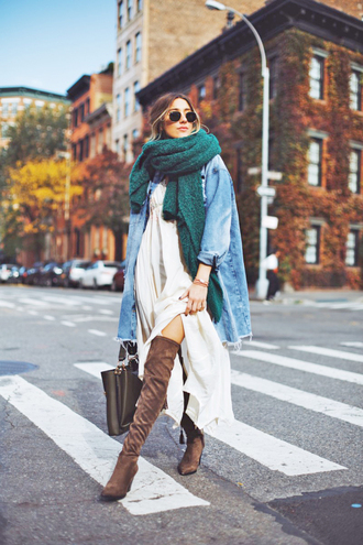 scarf tumblr knit knitwear knitted scarf jacket denim jacket denim dress white dress maxi dress boots over the knee boots over the knee sunglasses