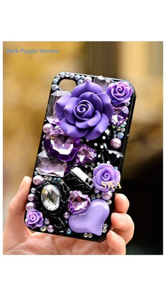 jewels phone case roses purple custom made