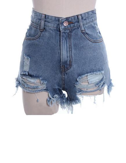 High waist frayed hotpants