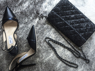 a portable package blogger quilted shiny jimmy choo pointed toe shoes bag quilted bag jewels jumpsuit classy