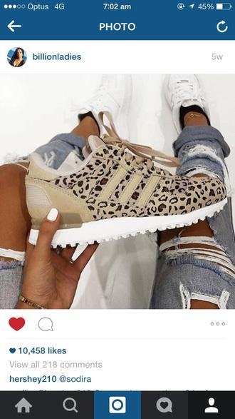 shoes adidas beige leopard print zx 700